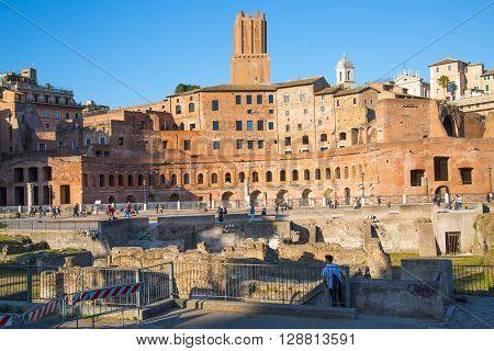 ROME, ITALY - APRIL 8, 2016: Emperor Trajan Forum 106 - 112 AD AD, measuring 300 metres (980 feet) long and 185 metres (607 feet) wide