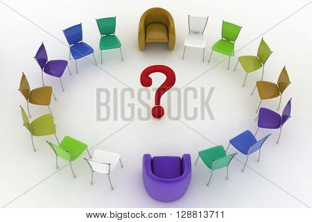 Two arm-chairs of chief and group of multicolored office chairs with question-mark in a center. 3d render.
