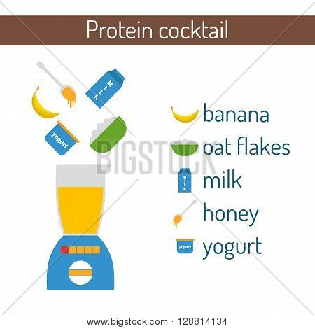 Vector illustration with protein cocktail: banana oat flakes milk honey yogurt. Vector blender for making cocktail. Milk protein shake. Healthy food beverage concept. Diet flat cartoon breakfast