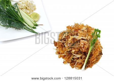 Fried noodle Thai style padthai isolate on white background
