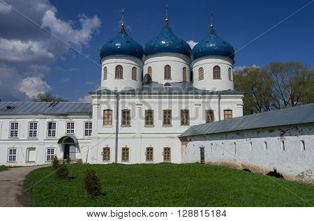 Veliky Novgorod, Russia - May 3, 2016: Church of Exaltation of the Cross in Russian orthodox Yuriev Monastery in Veliky Novgorod in spring sunny day