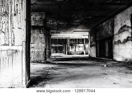 Abandoned building ghost living place darkness creepy and horror background concept