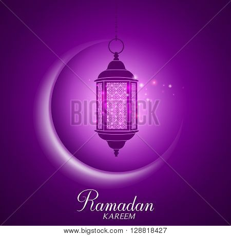 Vector Crescent Moon and Lantern Lightning in Dark Background with Ramadan Kareem Greetings. Silhouette Vector Illustration