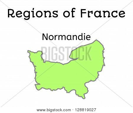 France administrative map of Normandy region on white