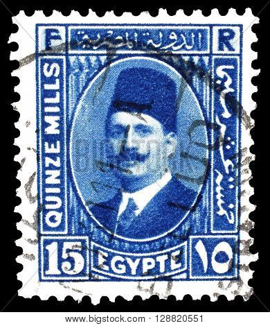 EGYPT - CIRCA 1927 : Cancelled postage stamp printed by Egypt, that shows king Fuad.