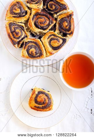 Poppyseed filling buns and tea, top view