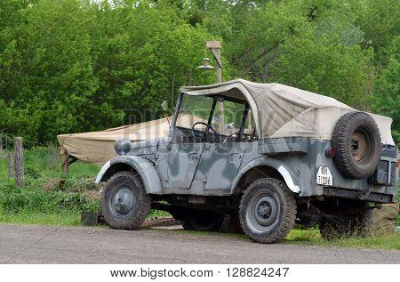 German historical military transport.At May 7,2016 in Kiev, Ukraine