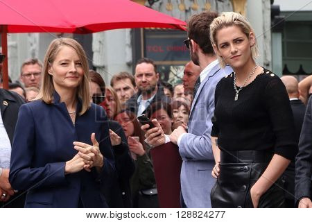 LOS ANGELES - MAY 4:  Jodie Foster, Kristen Stewart at the Jodie Foster Hollywood Walk of Fame Star Ceremony at the TCL Chinese Theater IMAX on May 4, 2016 in Los Angeles, CA