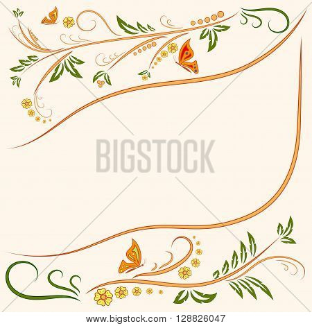Floral ornament background with butterflies. Flowers Illustration Design Elements. Beautiful card with tree branches foliage butterfly and fantastic flowers. Ornamental floral element. Stock vector