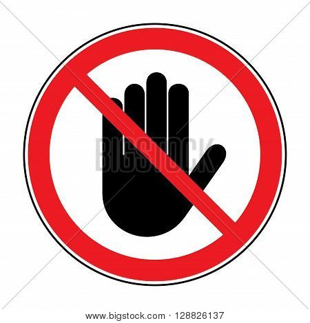 STOP sign. No entry. Black hand sign isolated on white background. Red stop symbol in a crossed circle. Hand sign for prohibited activities. Stock vector illustration - you can change color and size