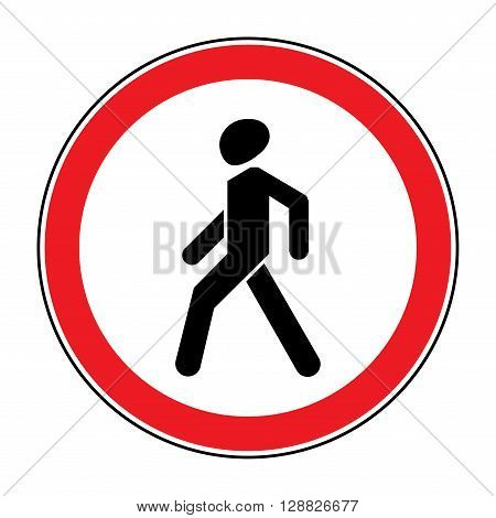 Prohibition No Pedestrian Sign. No walking traffic sign. No crossing. Prohibited signs silhouette of walking man in a red circle isolated on white background. Editable stock vector illustration