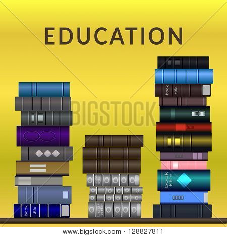 Bookshelf with a lot of books. Stacks of books of different colors and sizes isolated on background with gradient. The symbol of library bookstore education school or science. Volume design. Vector