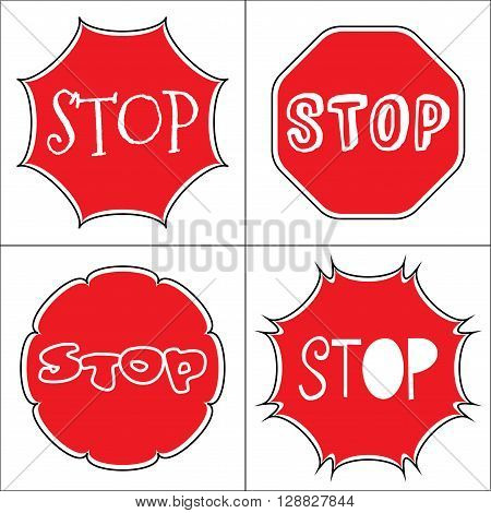 STOP sign. Traffic stop icons isolated on white background. Red octagonal stop signs for prohibited activities. Set a stop sign in the octagon of different shapes and fonts. Vector illustration