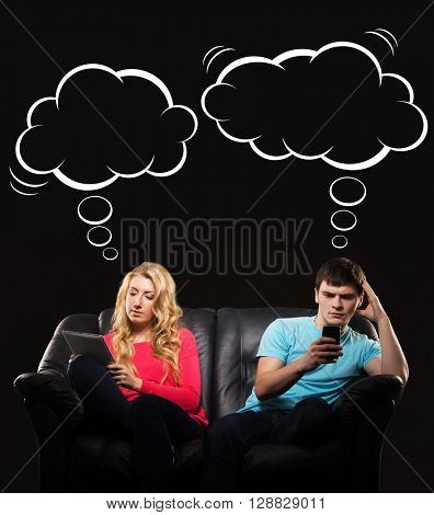 Young couple having apathy being absorbed by their gadgets. Comics concept.