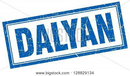 Dalyan blue square grunge stamp on white