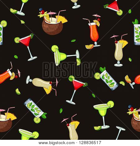 Seamless vector pattern of the different cocktails. Bright summer tasty alcoholic cocktails. Pina colada tequila sunrise margarita mojito coconut cosmopolitan. Vector illustration on a black background.