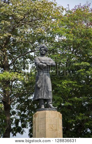Statue of Swami Vivekananda in Mumbai India. He was a key figure in the introduction of the Indian philosophies of Vedanta and Yoga to the Western world.