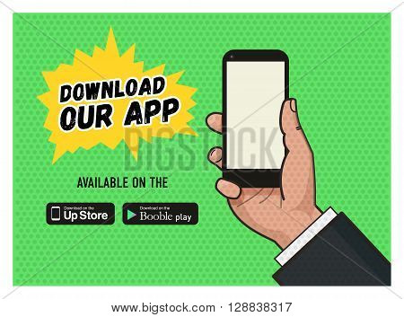 Download page of the mobile messaging app. Hand holding a mobile phone against green background. Pop art illustration in vector flat format. Old style of a texture. download buttons.
