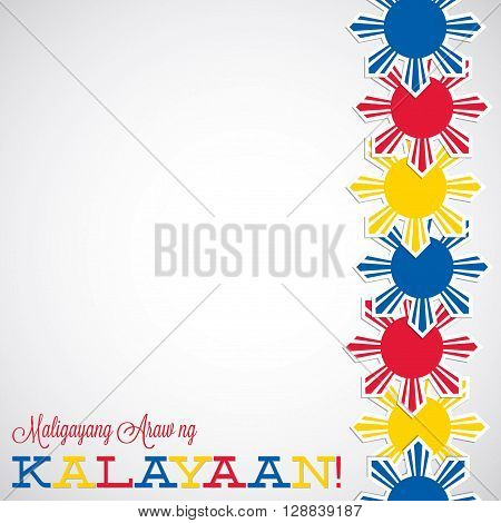Line Philippine Independence Day card in vector format. Translation 'Happy Independence Day'