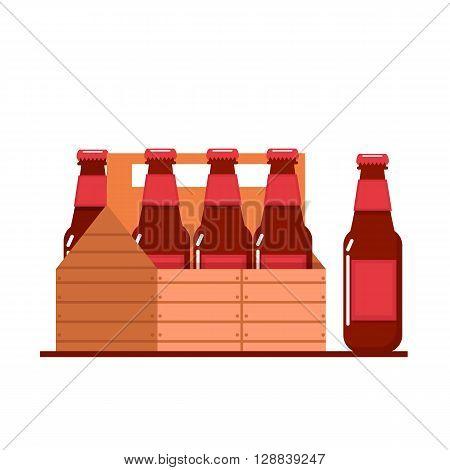Bottles of beer in wooden crate. Vector flat illustration.