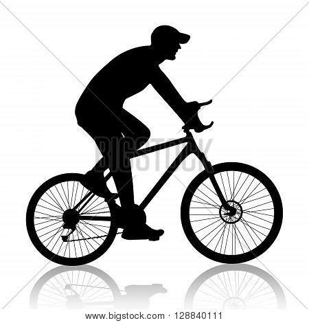 cyclist man silhouette vector on white background