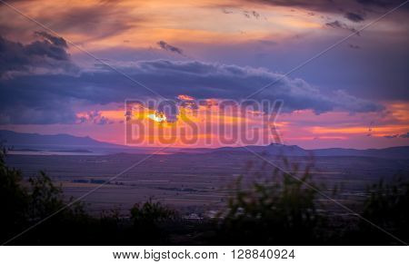 Sunset and Clouds with night on vacation
