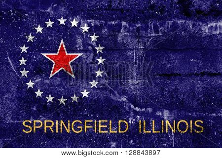 Flag Of Springfield, Illinois, Painted On Dirty Wall. Vintage And Old Look.