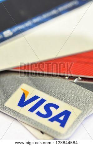 SINGAPORE - 02 MAY 2016 : Close up of credit cards VISA card. Product shot