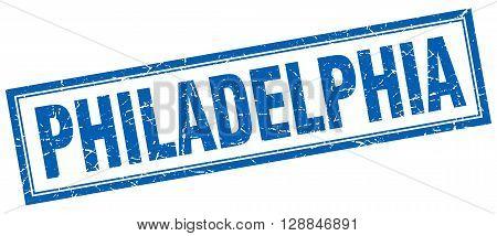 Philadelphia blue square grunge stamp on white