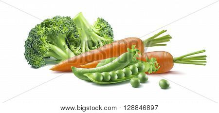Fresh carrot green broccoli peas vegetables isolated on white background as package design element