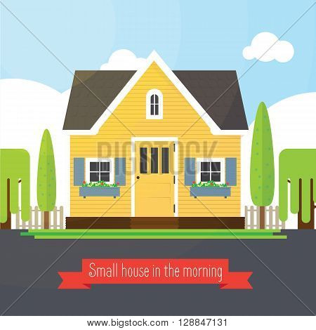 Small house in the morning. illustration of a cute yellow house. Vector house.