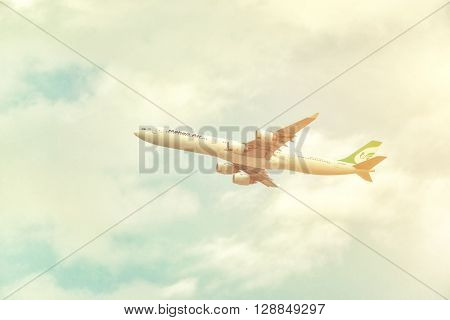 DUBAI, United Arab Emirates - DECEMBER 22, 2016: Mahan Air aircraft Airbus A340-642 is taking off from DXB airport