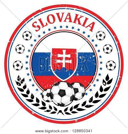 Printable Slovakia soccer team grunge stamp. Slovakian football national team sign, containing a soccer ball and the flag of Slovakia. Print colors used