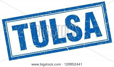 Tulsa blue square grunge stamp on white