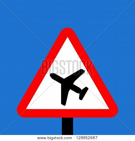 Warning triangle Low flying aircraft or sudden aircraft noise sign
