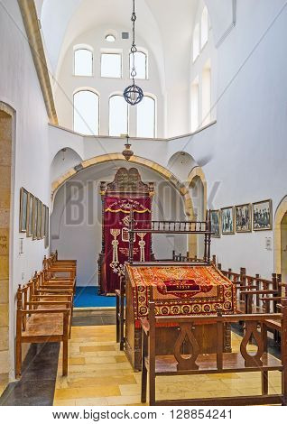 JERUSALEM ISRAEL - FEBRUARY 18 2016: The Emtsai Synagogue (Middle Synagogue) forms the central chamber of the complex of Four Sephardic Synagogues on February 18 in Jerusalem.