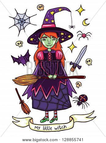 Cute little witch in purple dress. Illustration about witches holidays of or Helloween. Witchcraft everywhere. Isolated on white background.