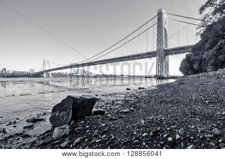 George Washington Bridge in New Jersey in black and white