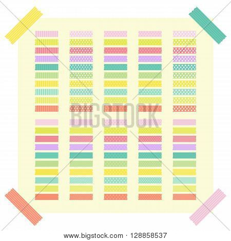 Collection Of Colorful Adhesive Tape Or Stickers. Set Of Ribbons And Stickers For Your Design. Cute
