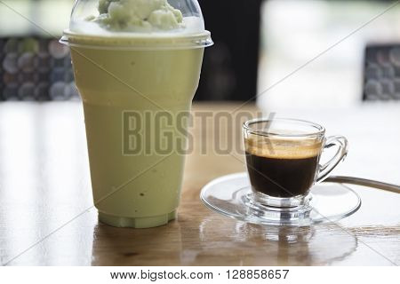 Espresso Shot And Green Tea Smoothie On Wooden Table