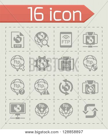 Vector FTP icon set on grey background