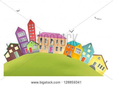Small cozy town with cartoon houses like from the pages of a children books. Village on the hill isolated on white. Vector illustration.