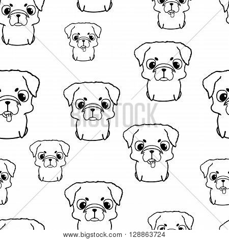 Seamless pattern with pug puppies. Sweet little dogs in cartoon style. Friendly and happy sitting puppies. Black and white pug puppy. Seamless texture with pg puppies