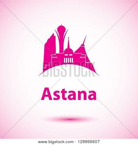 Vector silhouette of Astana, Kazakhstan. Bayterek tower the symbol of Astana, Kazakhstan