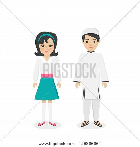 Saudi Arabia traditional clothes people. Arab traditional family muslim, arabic clothing, east arabian dress, ethnicity islamic face, person brother and sister, boy and girl illustration