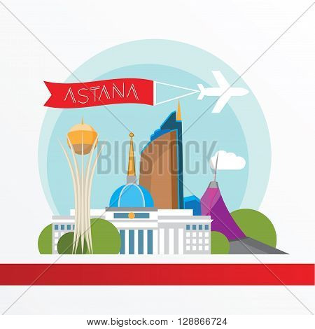 Astana detailed silhouette. Trendy vector illustration, flat style. Stylish colorful  landmarks.  Bayterek tower the symbol of Astana, Kazakhstan