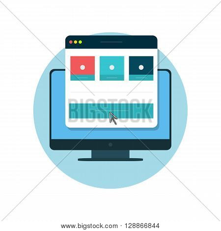 Responsive design icon flat isolated. Website page dimensions on the screen digital display. Icon badge or emblem flat in a circle isolated. Vector illustration
