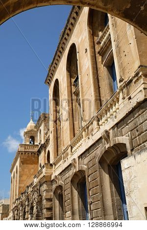 Historic buildings in the Knights Quarter in Il-Birgu Malta southern Europe.