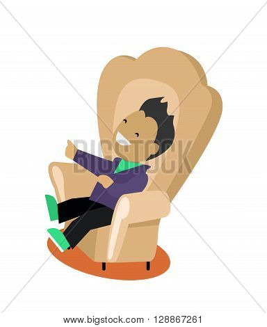 Satirical caricature edition design flat. Young man sitting in a comfortable chair and laughs looking humorous edition isolated on white background. Vector illustration