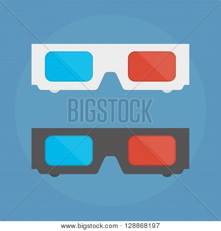 3D glasses vector illustration of flat. A pair of 3D glasses isolated on a colored background. Design black and white 3D glasses for movies. 3D glasses icon concept.